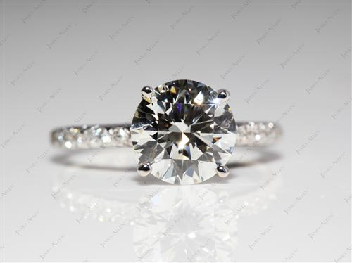 White Gold 2.09 Round cut Diamond Pave Ring