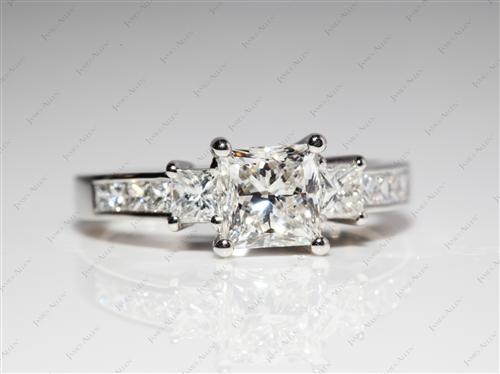 Platinum 1.31 Princess cut Side Stone Engagement Rings