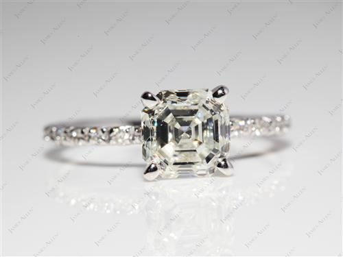 White Gold 2.01 Asscher cut Wedding Ring Sets