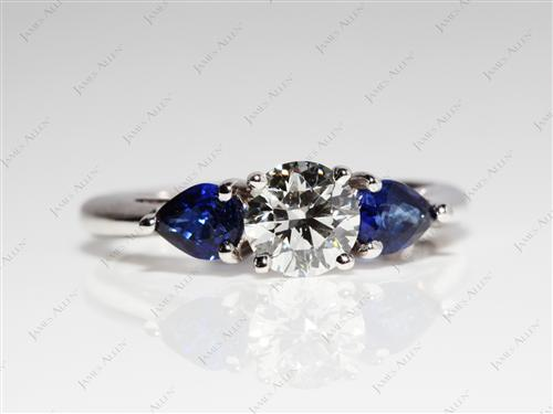 White Gold 0.74 Round cut Gem Stone Engagement Ring