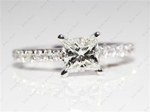 White Gold 1.01 Princess cut Diamond Ring With Sidestones