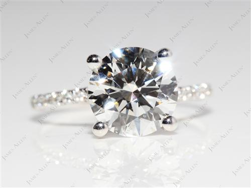 White Gold 2.58 Round cut Micro Pave Diamond Ring