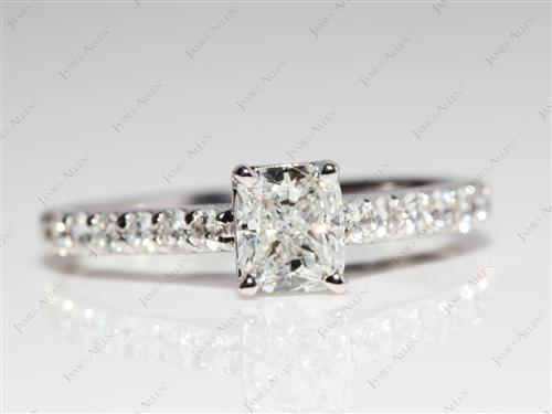 White Gold 0.81 Cushion cut Sidestone Engagement Ring
