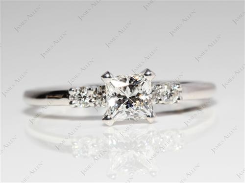 White Gold 0.70 Princess cut Sidestone Engagement Ring