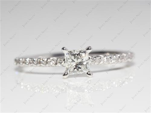 White Gold 0.48 Princess cut Pave Ring