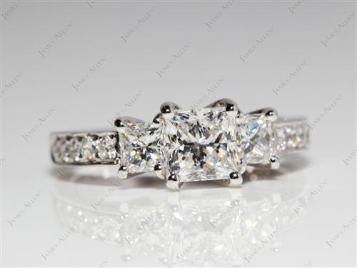 White Gold 0.75 Princess cut Princess Cut Engagement Rings With Side Stones