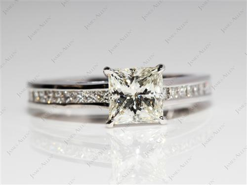 White Gold 1.02 Princess cut Channel Set Diamond Engagement Rings