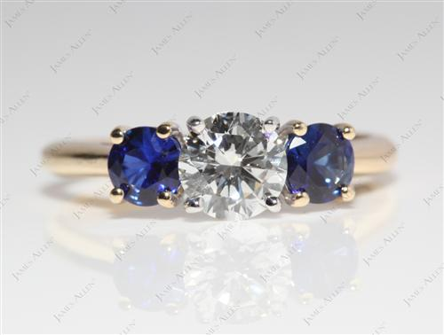 Gold 0.90 Round cut Diamond And Gemstone Rings
