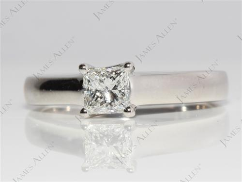 Platinum 0.59 Princess cut Solitaire Ring Settings