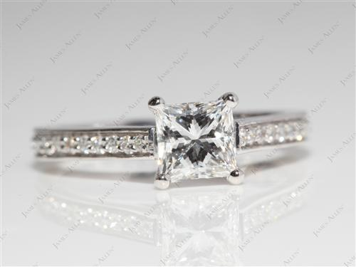 White Gold 0.93 Princess cut Micro Pave Rings