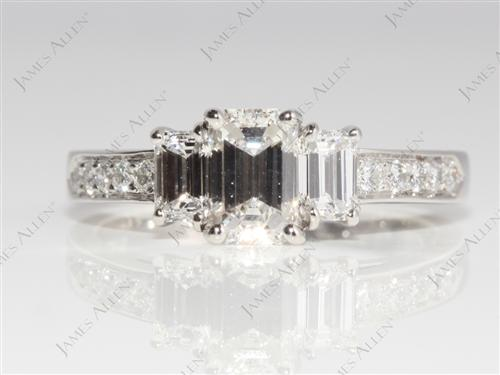 Platinum 0.74 Emerald cut Side Stone Engagement Rings