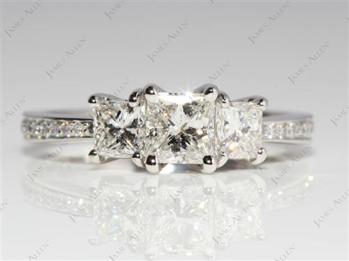 Platinum 0.70 Princess cut Engagement Rings With Sidestones