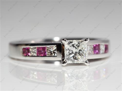 White Gold 0.62 Princess cut Diamond Wedding Sets