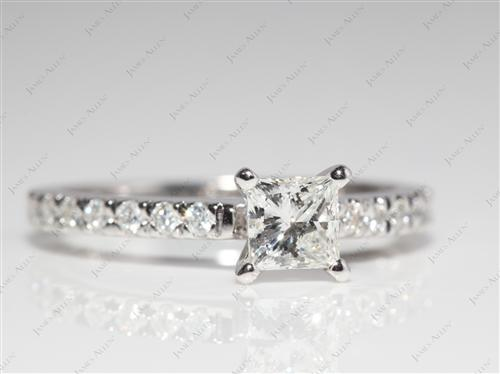 White Gold 0.60 Princess cut Diamond Wedding Sets
