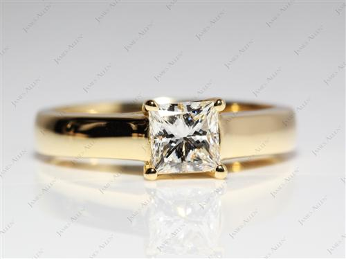 Gold 0.76 Princess cut Solitaire Diamond Ring
