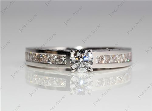 White Gold 0.30 Round cut Channel Set Diamond Engagement Rings