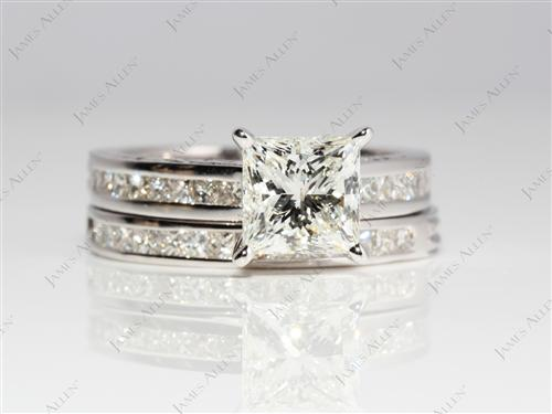 White Gold 1.75 Princess cut Gold Wedding Ring Sets