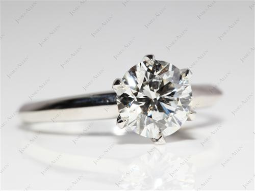 Platinum 1.32 Round cut Diamond Engagement Solitaire Rings