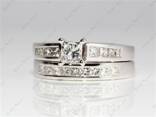 White Gold 0.53 Princess cut Diamond Wedding Sets