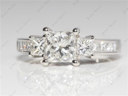 Platinum  Engagement Ring With Sidestones
