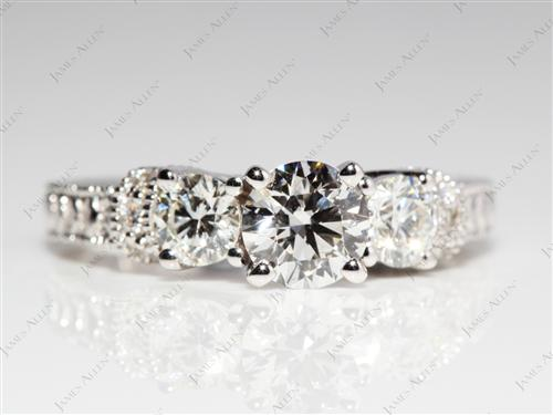 White Gold 0.62 Round cut Diamond Ring With Sidestones