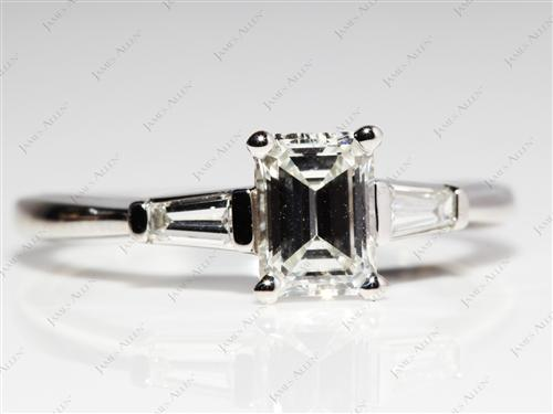 Platinum 1.11 Emerald cut Engagement Ring Settings With Side Stones