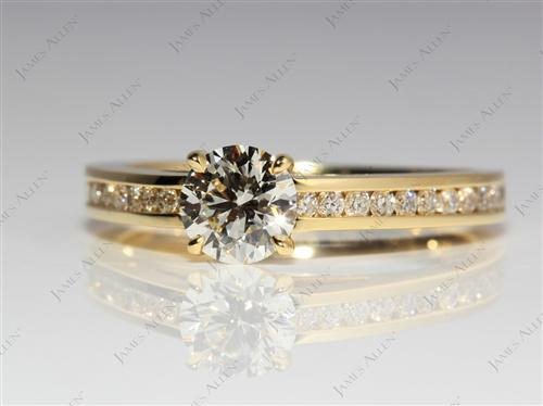 Gold 0.72 Round cut Channel Set Eternity Rings