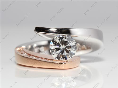 White Gold 1.01 Round cut Tension Diamond Rings