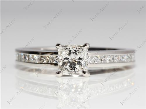 Platinum 0.74 Princess cut Channel Set Diamond Rings