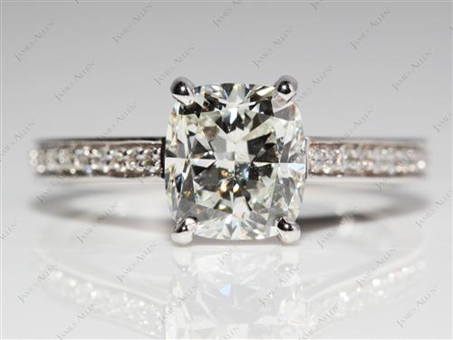 White Gold 2.05 Cushion cut Micro Pave Ring