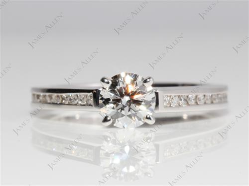 White Gold 0.65 Round cut Channel Engagement Ring