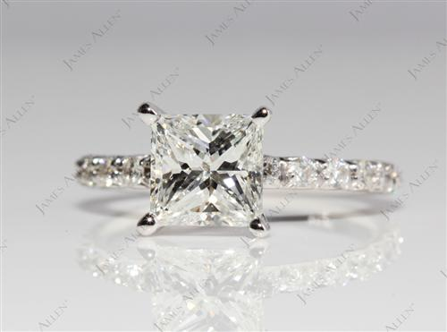 White Gold 1.36 Princess cut Micro Pave Rings