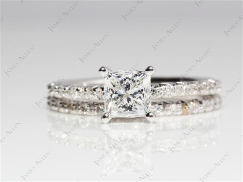 White Gold 0.78 Princess cut Bridal Set Wedding Rings