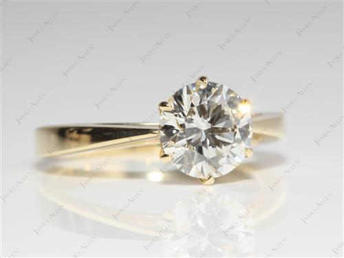 Gold 1.50 Round cut Solitaire Engagement Ring