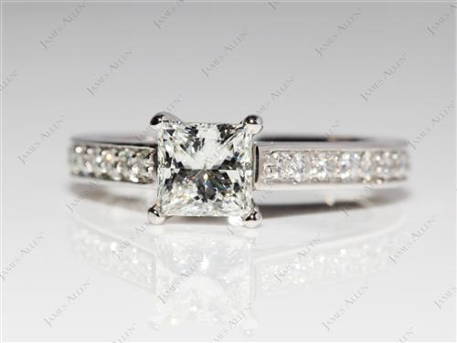 Platinum 1.00 Princess cut Pave Engagement Rings
