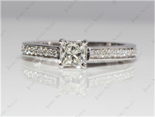 White Gold 0.42 Princess cut Engagement Ring