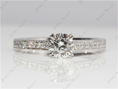Platinum 0.51 Round cut Pave Ring Setting