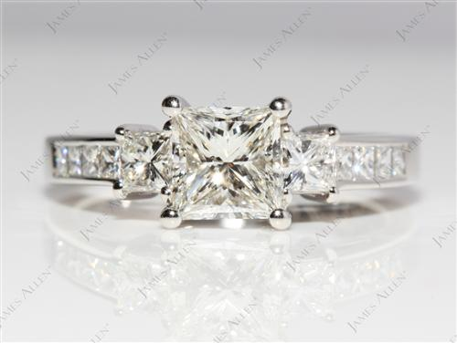 Platinum 1.02 Princess cut Engagement Rings
