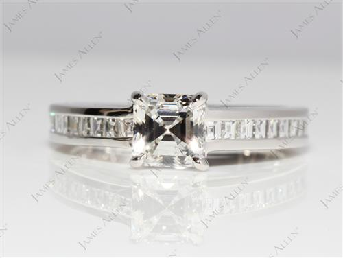 Platinum 0.80 Emerald cut Channel Set Eternity Rings