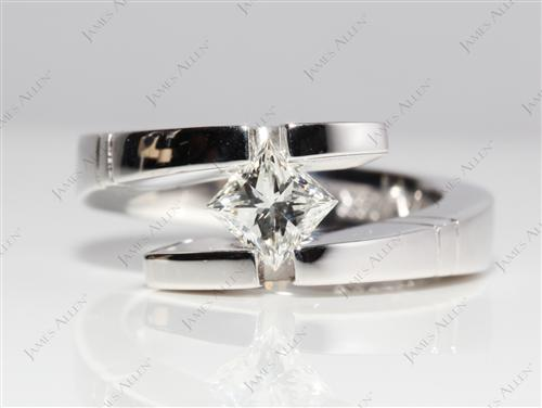 White Gold 0.72 Princess cut Tension Mount Engagement rings