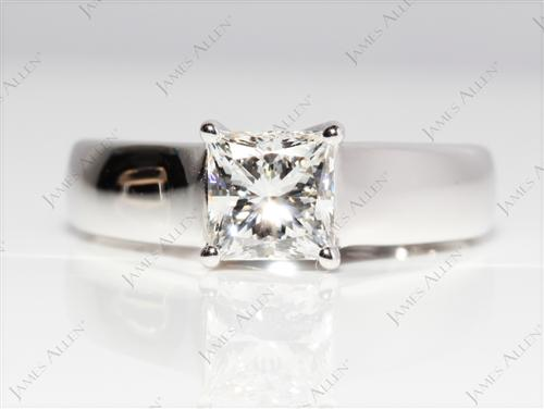 White Gold 1.01 Princess cut Solitaire Diamond Ring