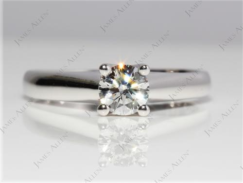 White Gold 0.51 Round cut Diamond Engagement Solitaire Rings