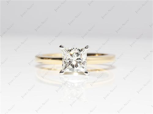 Gold 1.10 Princess cut Solitaire Ring Settings