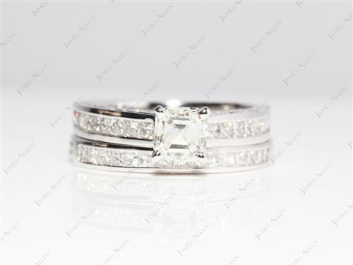 White Gold 1.01 Asscher cut Bridal Wedding Sets