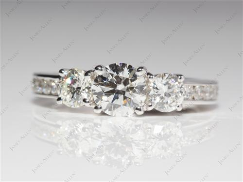 White Gold 0.62 Round cut Three Stones Diamonds Rings