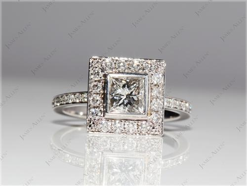 White Gold 0.72 Princess cut Pave Ring Setting