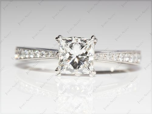 Platinum 1.05 Princess cut Engagement Rings