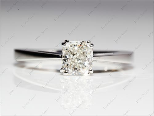 Platinum 0.90 Radiant cut Diamond Engagement Solitaire Rings
