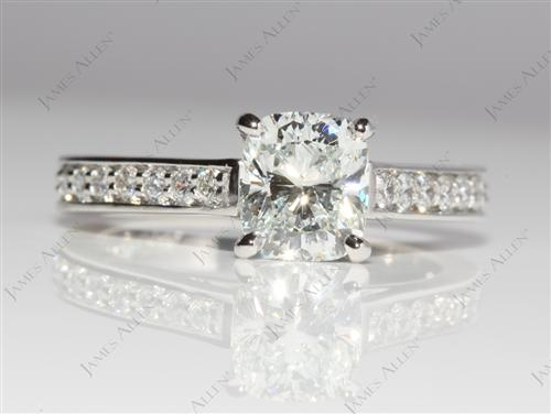 Platinum 1.30 Cushion cut Pave Ring Setting