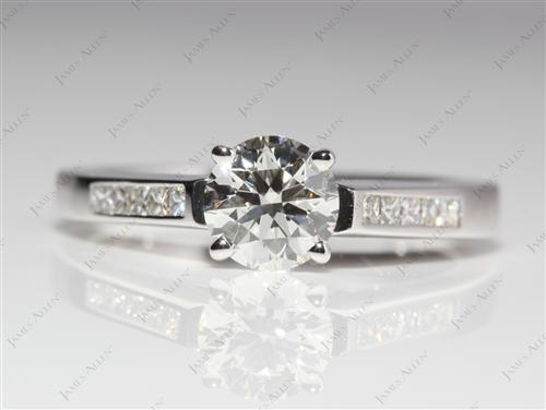 White Gold 0.75 Round cut Channel Setting Engagement Rings